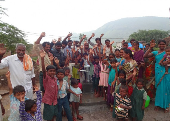 The Savisettipalli Harijanawada community celebrating their new fresh, clean water source