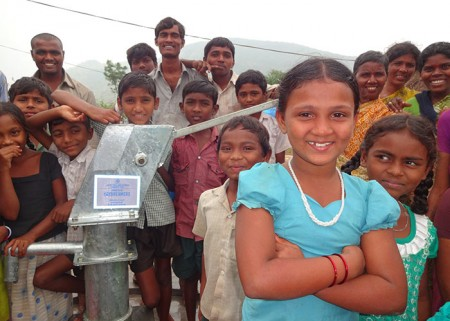 Members of the Savisettipalli Harijanawada community enjoying their new water source