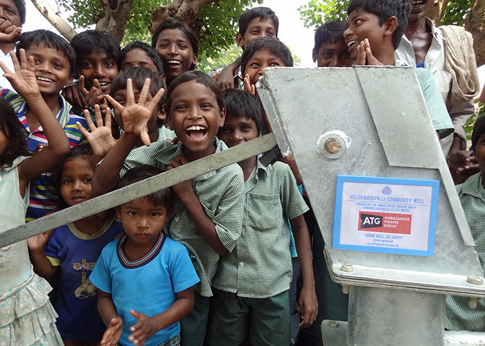 The children of Valleravaripalli with their new well