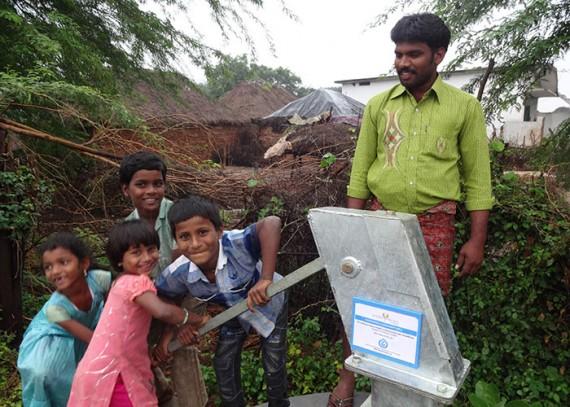 Children operate the pump