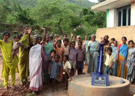 The Venkatanagaram community with their new well