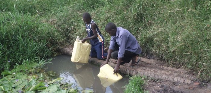Pond being used by the community
